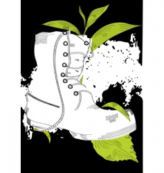 background with boot and grass vector image