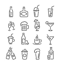 bar black signs thin line icon set vector image