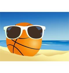 Basketball on a beach sand vector
