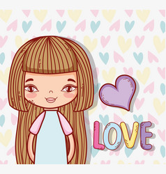 beauty girl with hairstyle and heart love vector image