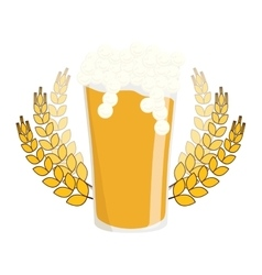 beer with branches wheat icon image vector image