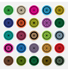 Bicycle wheels sticker vector image