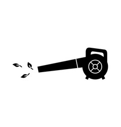 Blower with leaves silhouette icon electric vector