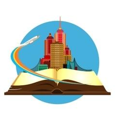 Book travel city vector