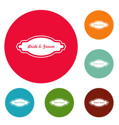 Bride and groom label icons circle set vector