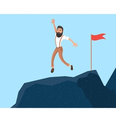 Businessman in mountains Leader on the top in vector image