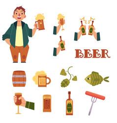 cartoon beer symbols icon set vector image