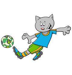 Cat football player cartoon character vector