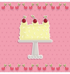 cherry cake vector image