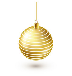 christmas tree shiny golden ball new year vector image