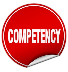 Competency round red sticker isolated on white vector
