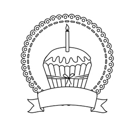 Contour circular border with cupcake with candle vector