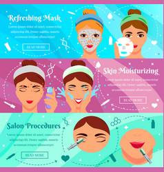 cosmetic procedures flat horizontal banners vector image