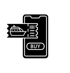 Cruise tickets buying glyph icon vector