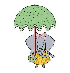 cute female elephant with umbrella vector image