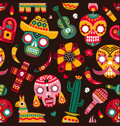 day dead seamless pattern skulls guitar and vector image