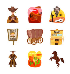 Design wild and west logo set wild vector