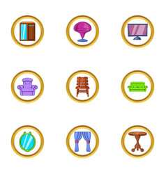 domestic furniture icon set cartoon style vector image