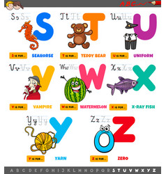 Educational cartoon alphabet letters set from s vector