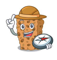 Explorer granola bar mascot cartoon vector
