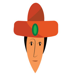 face a person wearing a traditional orange hat vector image