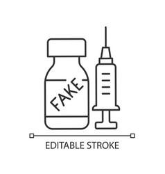 fake vaccine linear icon vector image