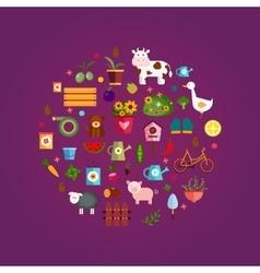 Farm life purple background vector