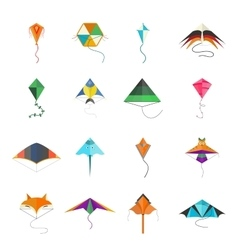 Flying kite collection Isolated on a white vector image
