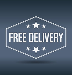 Free delivery hexagonal white vintage retro style vector