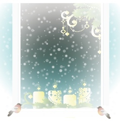 Frosted window with Christmas decoration vector