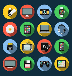 Gadget flat icons computer laptop tablet flash vector