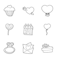 gift for lovers day icons set outline style vector image