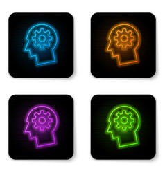 glowing neon human head with gear inside icon vector image
