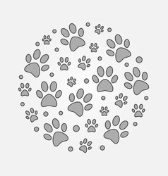 Gray dog footprints round vector