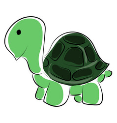Green small turtle on white background vector