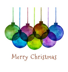 Group of Watercolor Hand Drawn Christmas Balls vector