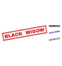 Grunge black widow scratched rectangle stamps vector