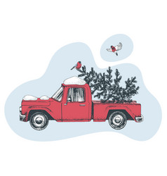 hand drawn card with red truck and christmas tree vector image