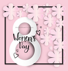 happy women day background paper flowers on pink vector image