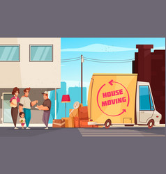 House moving outdoor composition vector