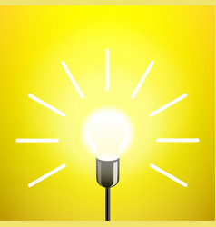 idea lamp light bulb yellow background vector image