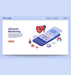 Inbound marketing landing page template media vector