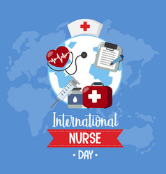 International nurse day logo with medical objects vector