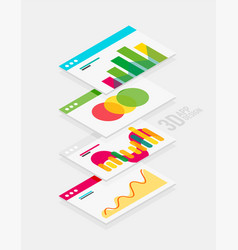 Isometric 3d user interface design vector