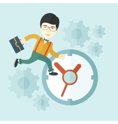 Japanese Worker with briefcase is running out of vector image