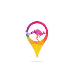Kangaroo logo with gps pointer design vector