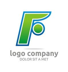 Letter f alphabet green company symbol icon vector
