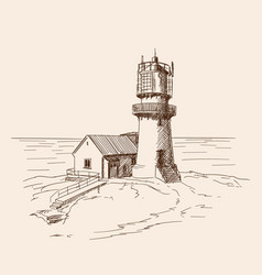lighthouse on stone shore vector image