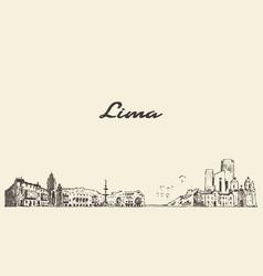Lima skyline peru vintage hand drawn vector