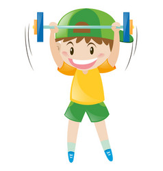little boy doing weightlifting vector image